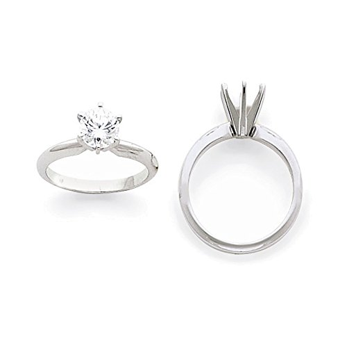 Platinum 2ct. Heavy-Weight Half-Round 6-Prong Solitaire Ring Mounting Size 2