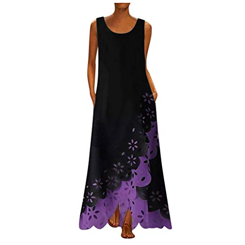 Thenlian Women Sleeveless Print Round Neck Long Maxi Dress Bohemia Beach Shirt Dress(XL, Purple)
