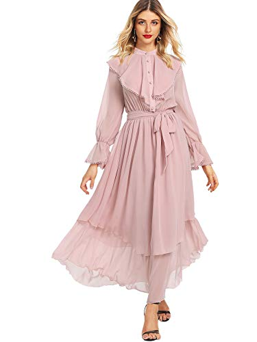 Milumia Women's Contrast Lace Ruffle Detail Crochet Trim Belted Tiered Layer Flowy Maxi Dress Pink M
