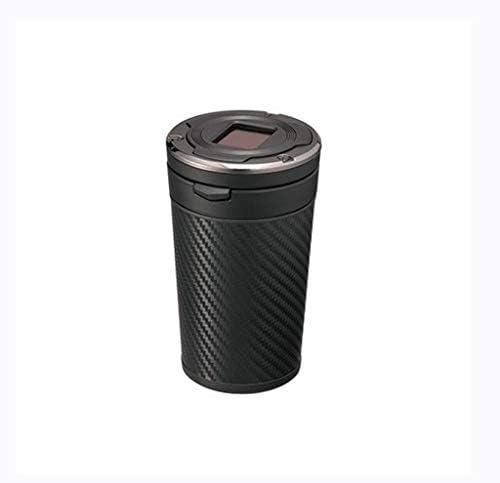 カースポーツ灰皿ソーラールミナスLEDライトカーボンファイバー (Color : Black)