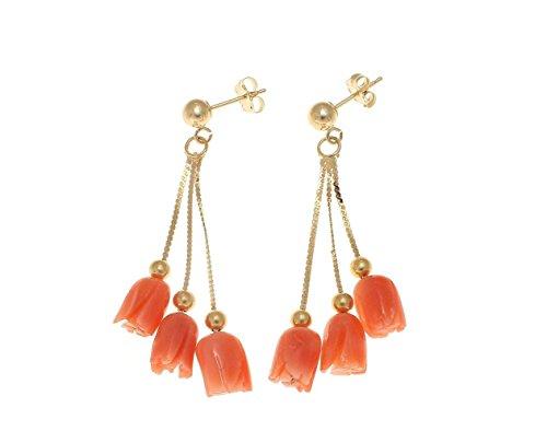 Genuine pink coral flower triple solid 14k yellow gold dangle earrings ()