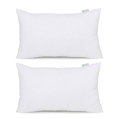 Acanva Hypoallergenic Pillow Insert Form Cushion Sham, Oblong Rectangle, 16