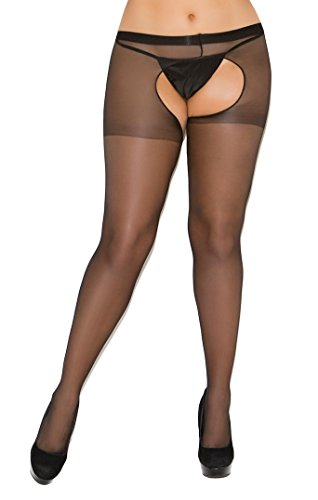 Lot of 2sheer plus size crotchless pantyhose opencrotch Open-crotch Open Crotch by Elegant Moments Lingerie 1726 1726Q (Black, Queen Plus Size) Lingerie Crotchless Pantyhose