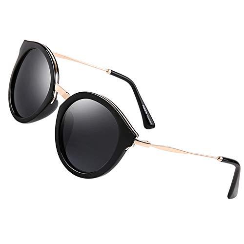 Fashion Women Sunglasses of Polarized, PARZIN Round Novelty Cat Eye Eyewear for Beach, Travel, Business PZ9522