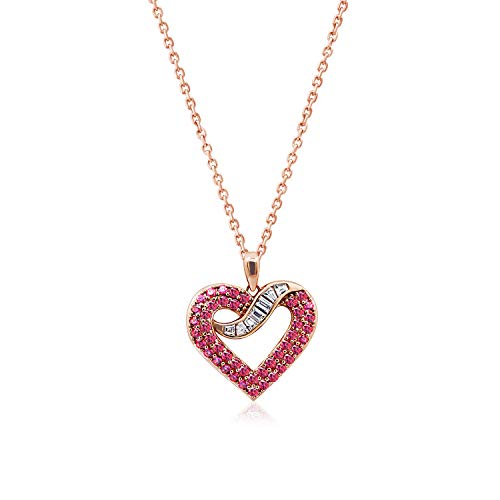 - J'ADMIRE Rose Gold Plated Sterling Silver 2.53 Swarovski Zirconia Baguette Red Open Heart Pendant Necklace, 18