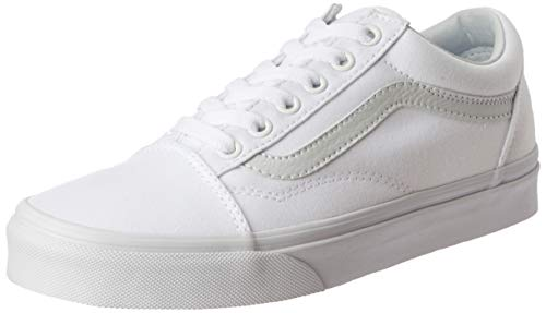 Vans Unisex Old Skool True White Canvas Skate Shoes - Leather Textured White