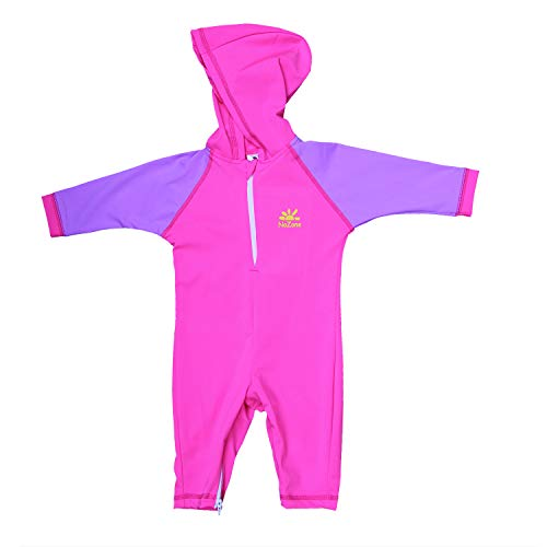 Nozone Kailua Hooded Sun Protective Baby Swimsuit in Knockout Pink//Lavender 18-24 Months