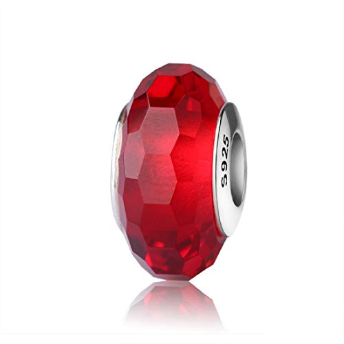 EVESCITY Real Murano & 925 Silver Handcrafted Art Colorful Glass Beads for Charm Bracelets ♥ Best Jewelry Gifts for Her Women ♥ (Ruby Red Crystal)