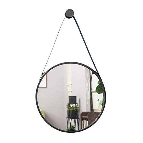 Betty Round Wall Mirror, Nordic Modern Metal Framed Vanity Mirror, Decorative Wall-Mounted Vanity Mirror for Bedroom, Bathroom and Living Room (Color : Black, Size : 40cm)