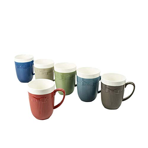 Ceramic Coffee & Tea Mugs (Set of 6) - Unique Cravat Collection Design by Yedi Houseware|Premium Quality Porcelain In Assorted Colors and Amazing Design|Perfect Housewarming Gift|10 - Cold Porcelain Magazine