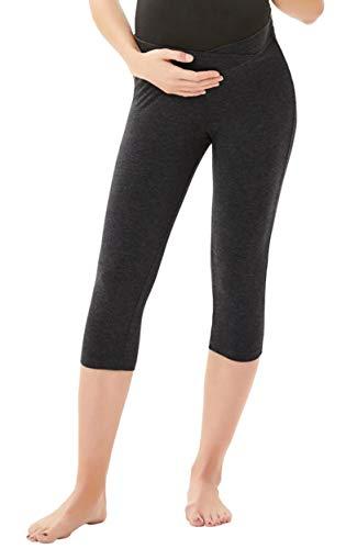 Women's Maternity Cropped Lounge Comfy Long Pants/Capri Pants Leggings (Medium, Capri Pants-Deep Grey2)