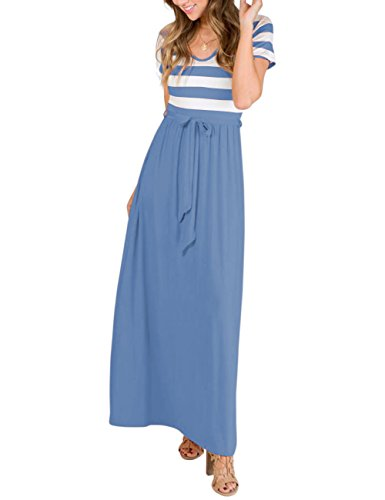 Tie Back Floor - MEROKEETY Women's Short Sleeve Striped V Neck Casual Tie Empire Waist Maxi Dress with Pockets