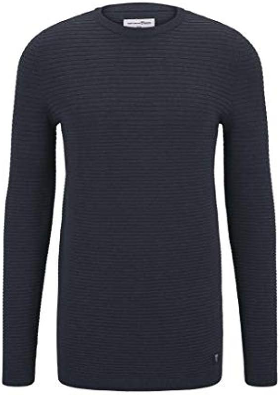 TOM TAILOR Denim Męskie Pullover & Strickjacken Pullover mit Strukturstoff Navy Grey Melange,S,22410,6000: Odzież