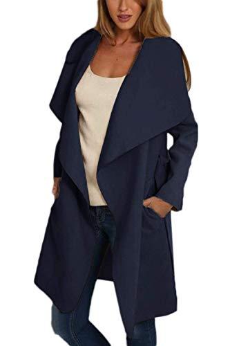 Fashion Solapa Manga Otoño Outerwear Navy Abrigos Chaquetas Modernas Chaqueta con Informales Anchos Larga De Cinturón Primavera Elegantes Largos Unicolor Gabardina Mujer Huixin TxI1w7n