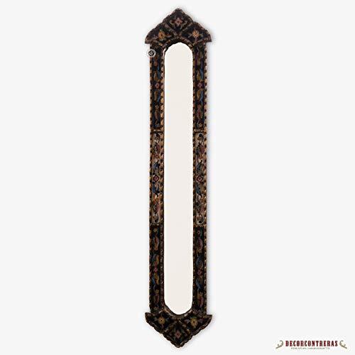 "Tall Narrow rectangular wall mirror, Decorative Long Mirror, Gold Narrow Wood Framed Wall Mirror, Peruvian painted glass,""Antique Charm"""