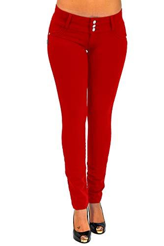 Premium Stretch Cotton Butt lifting, Levanta Cola, Skinny Leg Premium French Terry Fashion Moleton in Red Size XXL