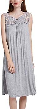 ENIDMIL Womens Soft Nightgowns Sleeveless Sleepwear Midi Sleep Dress