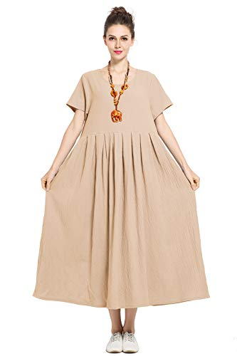 - Anysize Soft Linen Cotton Loose Spring Summer Dress Plus Size Dress F122A Camel