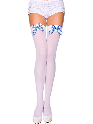 [Music Legs Sky Hosiery 6260 White Stockings with Blue Gingham Bow] (Gingham Womens Costumes)