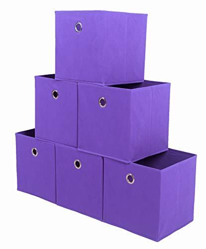 Amelitory Storage Bins Foldable Cube Organizer Fabric Drawer Set of 6 Purple ()