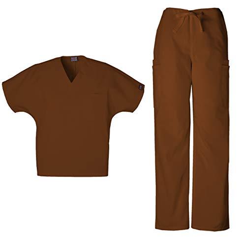 Cherokee Workwear Men's Dental/Medical Uniform Scrub Set - 4777 V-Neck Scrub Top & 4000 Drawstring Cargo Pants (Chocolate - ()