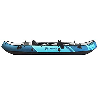 Elkton Outdoors Inflatable 10 Foot Inflatable Tear Resistant Fishing Kayak With Double Sided Oars, Rod Holders, Foot Pump & Repair Kit
