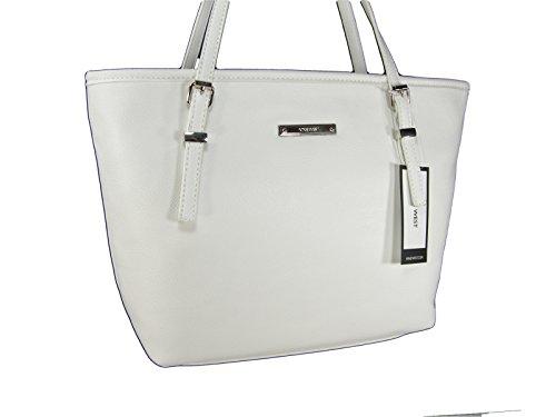 New Nine West Logo Purse Hand Bag Tote Snow Petal White It Girl Medium Size (Snow White Handbag)