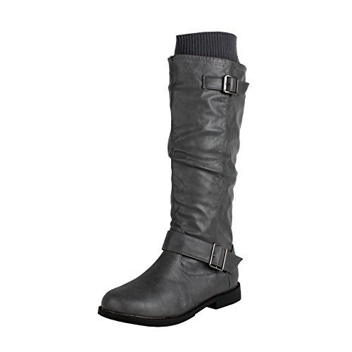 West Blvd Osakav2.0 Riding Boots, Grey Pu, 10 (Grey Womens Riding Boots)