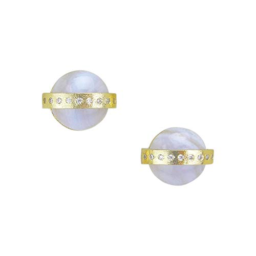 Marcia Moran Jay Circle Stud Earrings in Blue Lace Agate CZ and Gold (Blue Brazil Agate)