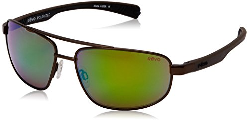 Revo Wraith  RE 1018 Polarized Rectangular Sunglasses, Brown Green Water, 61 - Revo Glass Sunglasses Lens