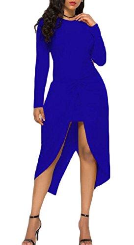 Lungo Diviso Collo Blu Bodycon Delle Midi Donne Del Abito Elegante Increspato Jaycargogo Rotonda Yz1XqF
