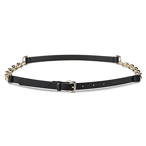 [Mossimo Supply Co Chain Faux Leather Belt, Small, Black] (Mossimo Black Belt)