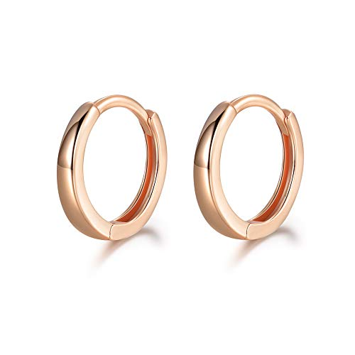 MASOP 14K Rose Gold Plated 925 Sterling Silver Huggie Hoop Earrings Sleeper Cuff Earrings for Women 13mm