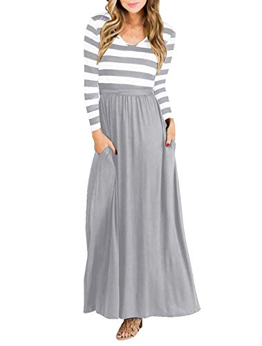 (Vabecid Casual Women Long Sleeve Striped Patchwork Tunic Vintage Maxi Dress with Pockets Belt (L,)