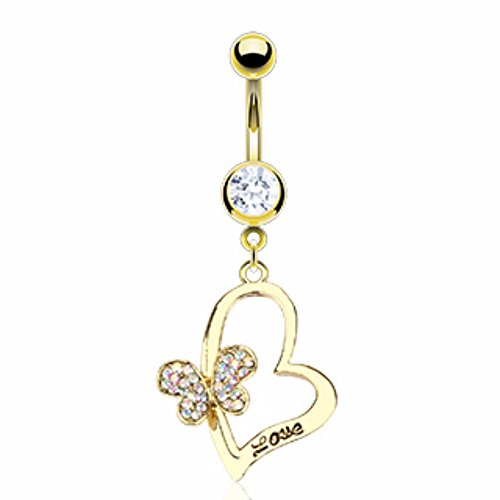 Heart 'LOVE' Engrave Butterfly Gold Plated Freedom Fashion 316L S. Steel Navel Ring (Belly Gold Ring Butterfly 14kt)