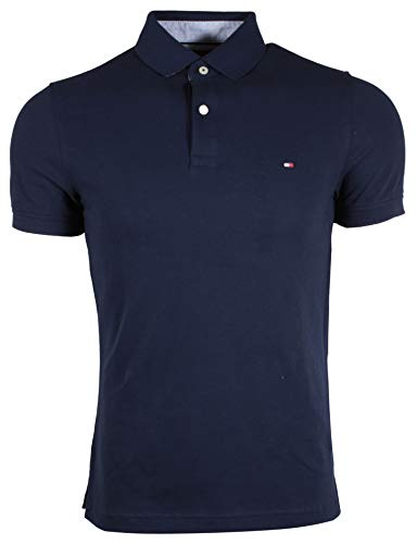 Tommy Hilfiger Mens Stretch Slim Fit Pique Polo Shirt (Medium, - Pique Polyester Mesh
