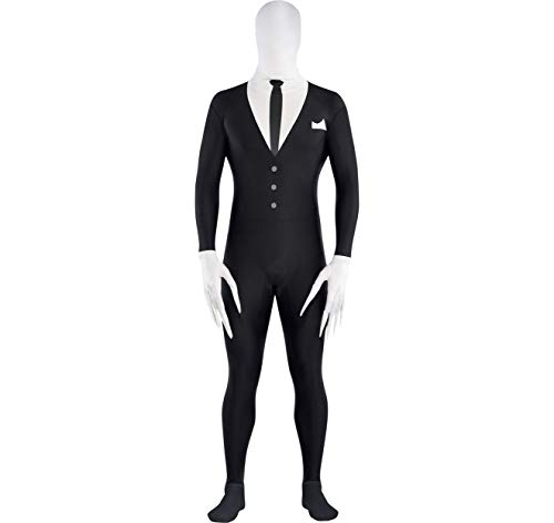 AMSCAN Slender Man Partysuit Halloween Costume for Adults, Medium, with Double Zipper