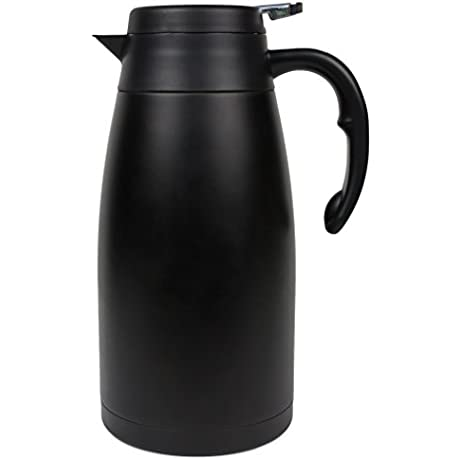 Thermal Carafe Large Stainless Steel Coffee Thermos With Insulated Vacuum For Hot And Cold Brew Black Pitcher With Lid And Easy Non Drip Press To Serve Good For Travel 2L 68oz Oku Char