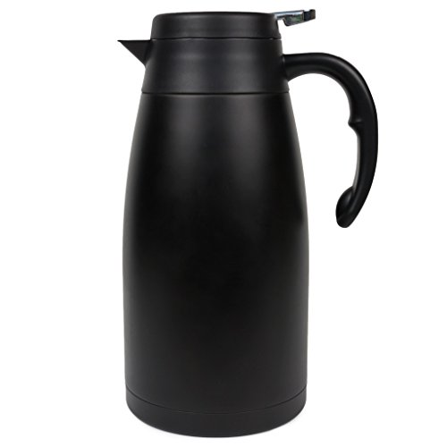 Thermal Carafe - Large Stainless Steel Coffee Thermos with insulated double walled vacuum for hot and cold brew - Black pitcher with lid and non-drip press to pour - 2L or 68oz - OKU + CHAR (Insulated Stainless Steel Urn Coffee)