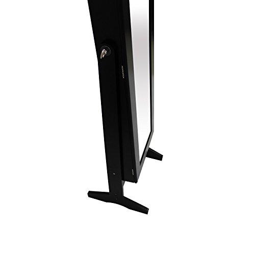 Schmuckschrank mit Spiegel schwarz - Spiegelschrank aus praktischem Holz 41, 5x37x146cm -