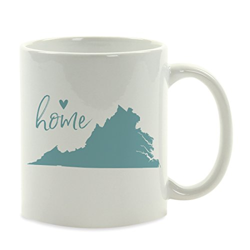 Andaz Press 11oz. US State Coffee Mug Gift, Aqua Home Heart, Virginia, 1-Pack, Unique Hostess Distance Moving Away Christmas Birthday Gifts for Her