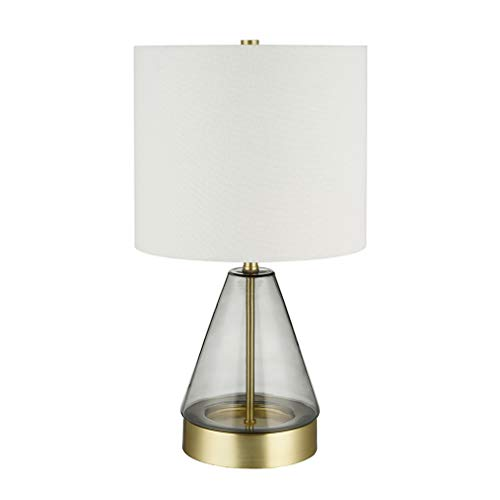 - Rivet Modern Glass Table Lamp with USB Port and LED Light Bulb - 10 x 10 x 16.63 Inches, Smoked Gray and Brass
