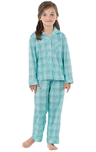 PajamaGram Big Girls Pajamas Set - Long Sleeve 2 Piece Girls Pajamas Set Aqua