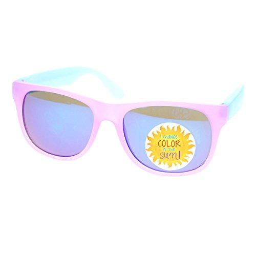 Photochromic Color Changing Frame Matte Sport Horn Rim Sunglasses Pink Blue ()