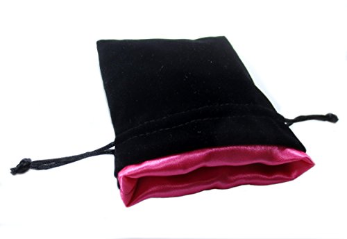 Pink Satin Lining (4x5 Princess Pink Premium Black Velvet Dice Bag with Strong Pink Satin Lining (Dice Bag Capacity is 5 Sets / 35 Dice))