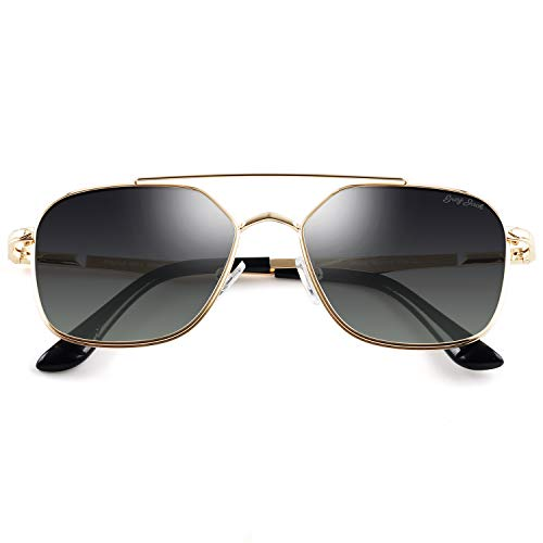 GREY JACK Polarized Square Aviator Sunglasses Polygon for Women Men Gold Frame Gradient Grey ()