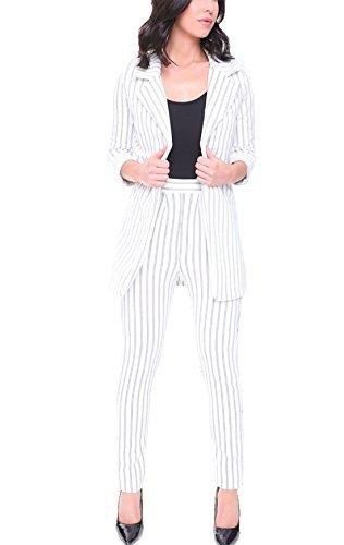 Azul manga 3 4 Mujer 21 Vestido Blanco moda txYgEtwq7