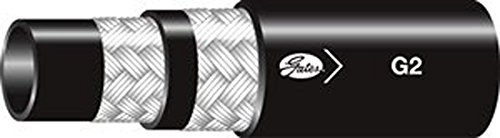 SAE 100R2 Type S Maximum Pressure: 4800 Hydraulic Global G2 2-Wire Braid Hose 50 Length -40 degrees F to 212 degrees F Temperature Range Gates 6G2XREEL-50 Synthetic Rubber