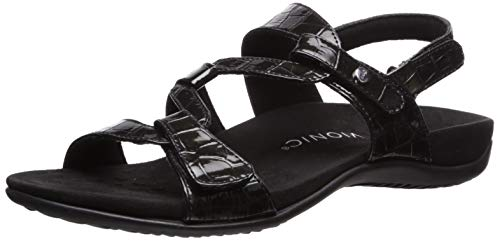 Vionic Women's Rest Paros Backstrap Sandal Black Patent