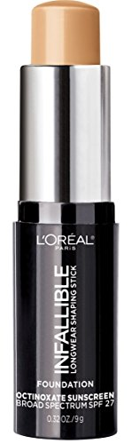 L'Oreal Paris Makeup Infallible Longwear Foundation Shaping Stick, Up to 24hr Wear, Medium to Full Coverage Cream Foundation Stick, 407 Natural Beige, 0.3 oz.